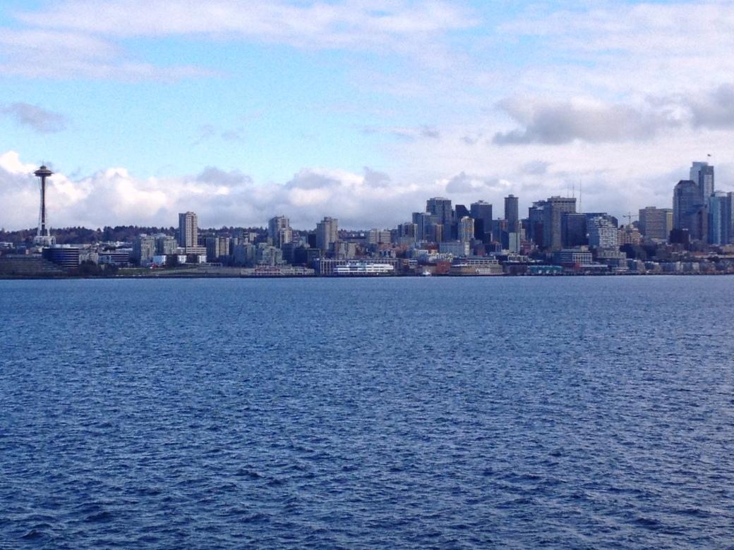 Seattle skyline aboard the Washington State Ferry crossing over from Bainbridge Island
