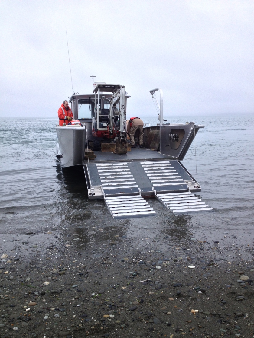 Excavator Being Off-loaded from the Landing Craft