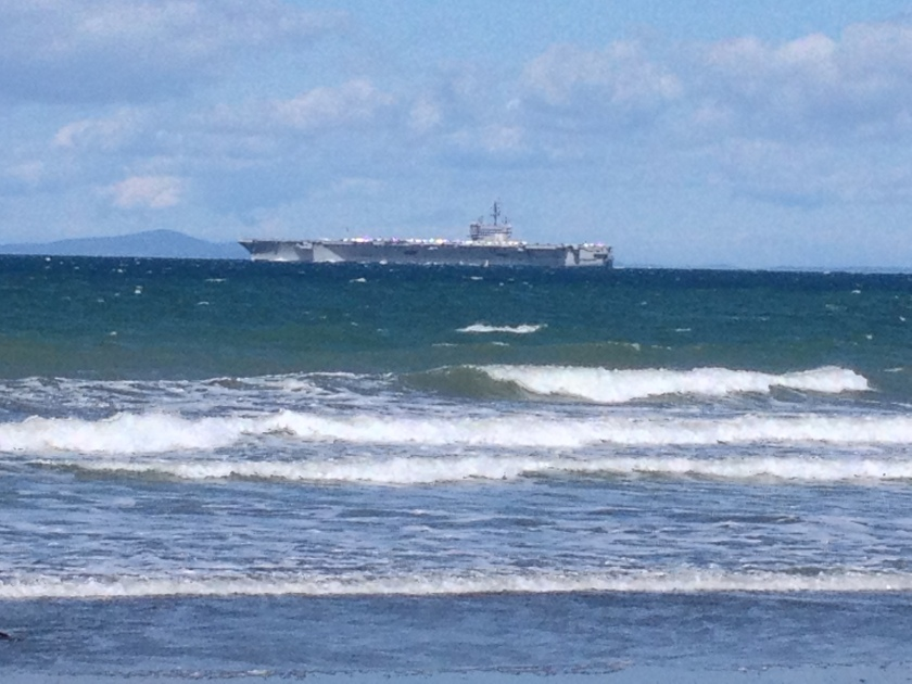 Aircraft Carrier USS Ronald Reagan as seen from the New Dungeness Spit - Sequim, WA