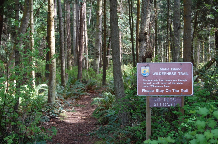 Trailhead on Matia Island - San Juan Islands, NWR, Washington
