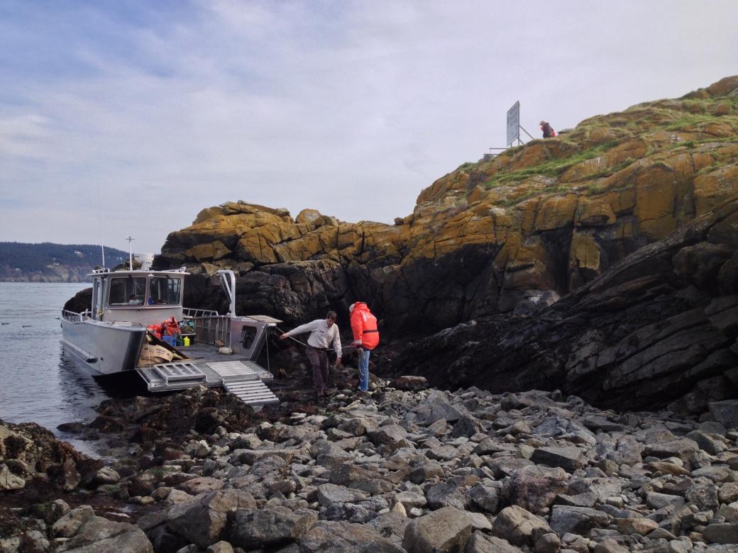 Landing Craft and Work Crew on Colville Island - San Juan Islands, NWR, Washington