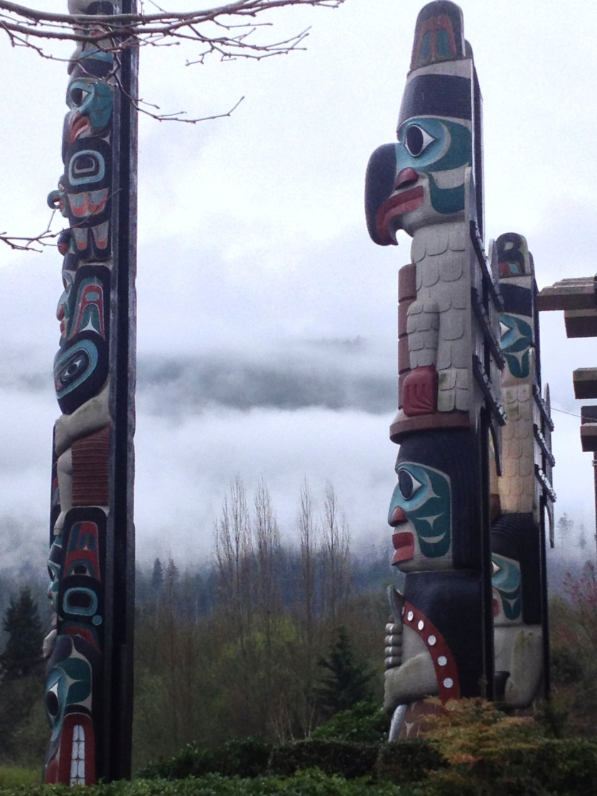 Totem Poles on a Foggy Morning Drive - Blyn, WA
