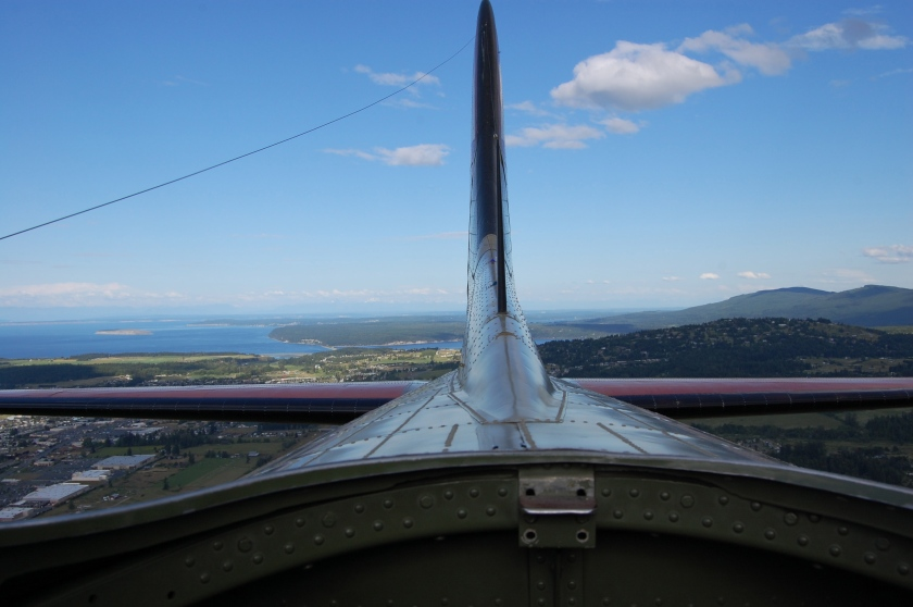 Protection Island on the left - as seen from the sunroof on a B-17 Flying Fortress