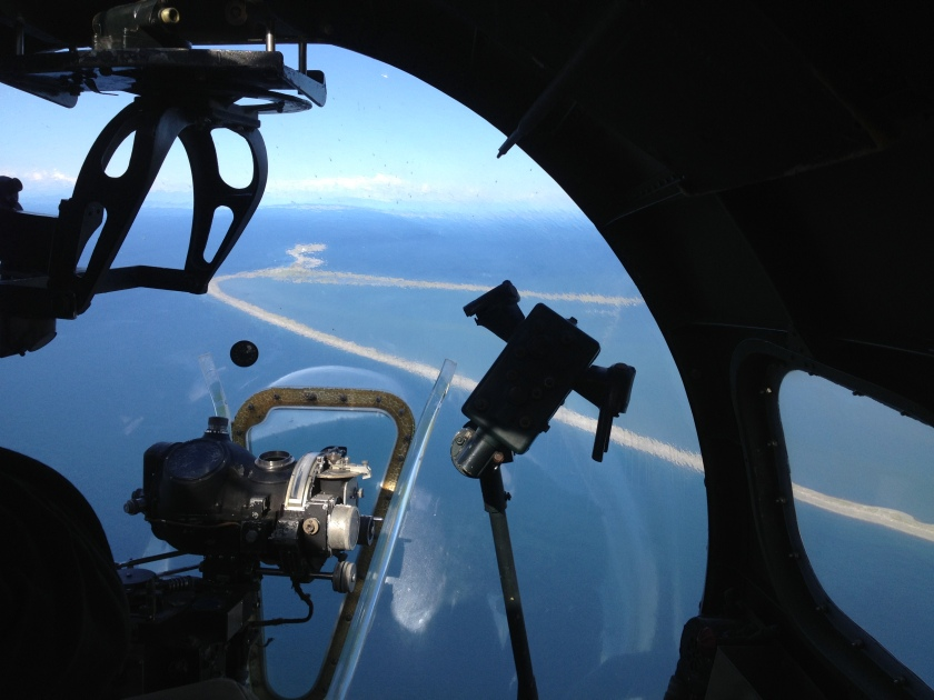 Dungeness Spit from the nose gun of a B-17 Flying Fortress
