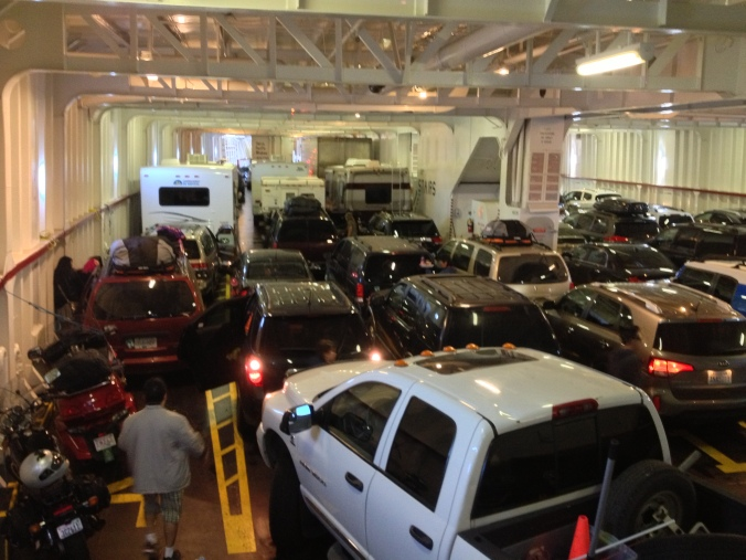 """In the """"garage"""" of the MV Coho"""