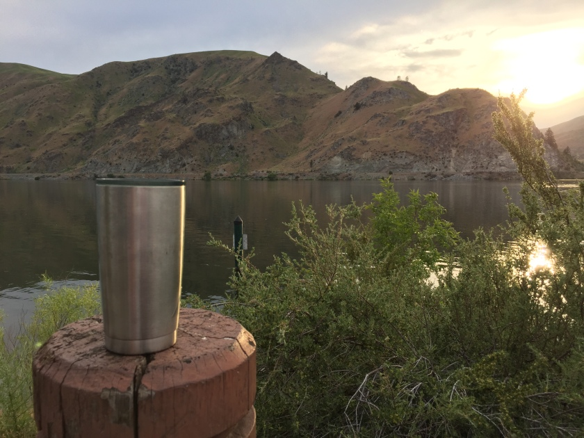 A Cocktail on the Columbia River at Sunset