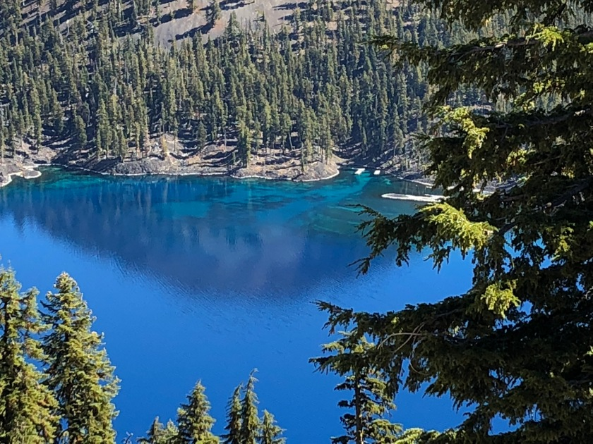 Closeup of blue watrer around Wizard Island - Crater Lake NP
